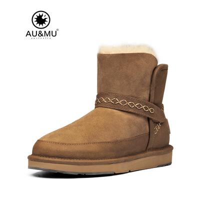 真皮雪地靴澳洲AUMU羊皮毛一体短靴冬季皮带扣防滑厚底女鞋子N040