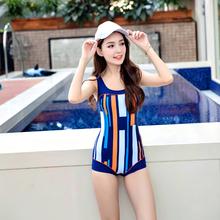 女式連體小平角彩色條紋顯瘦遮肚專業游泳衣速干 運動泳裝 舒漫新款