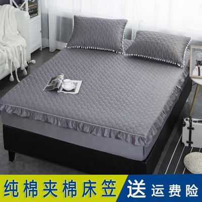 床笠夹棉加厚纯棉可水洗全棉床罩单件白色灰色床垫套保护套防滑年货节