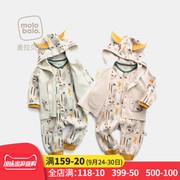 婴儿连体衣套装春秋装纯棉连帽外套爬服内衣两件套男女宝宝衣服