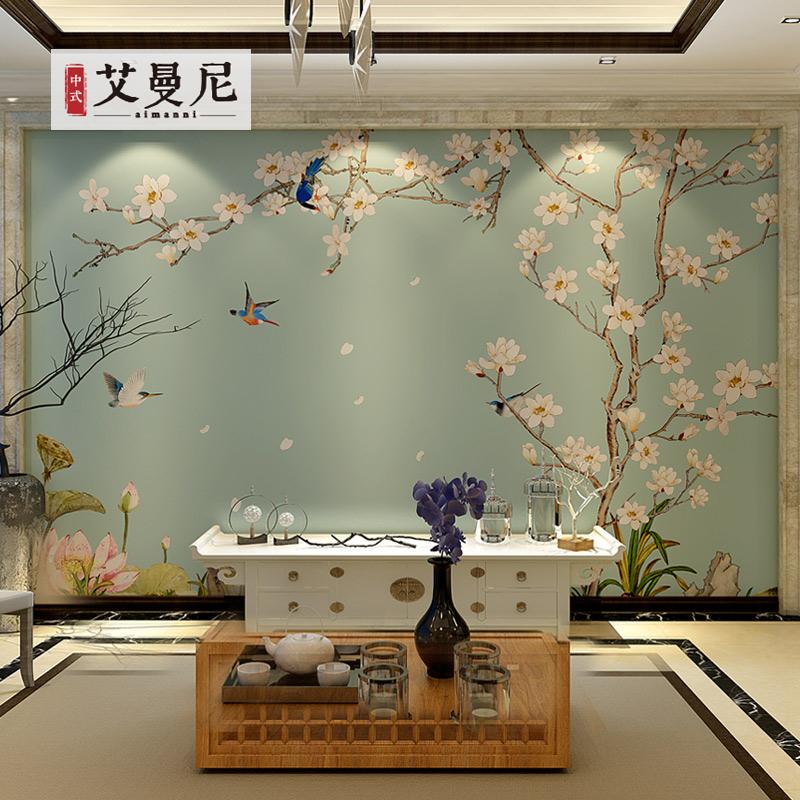现代中式墙纸电视背景墙壁纸兰花鸟3D定制壁画家装饰自粘墙布古典
