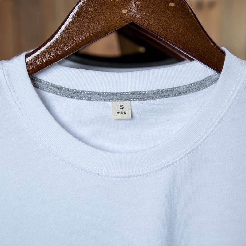 白色t恤男士短袖夏季宽松纯白情侣体恤纯棉半袖圆领潮流休闲上衣