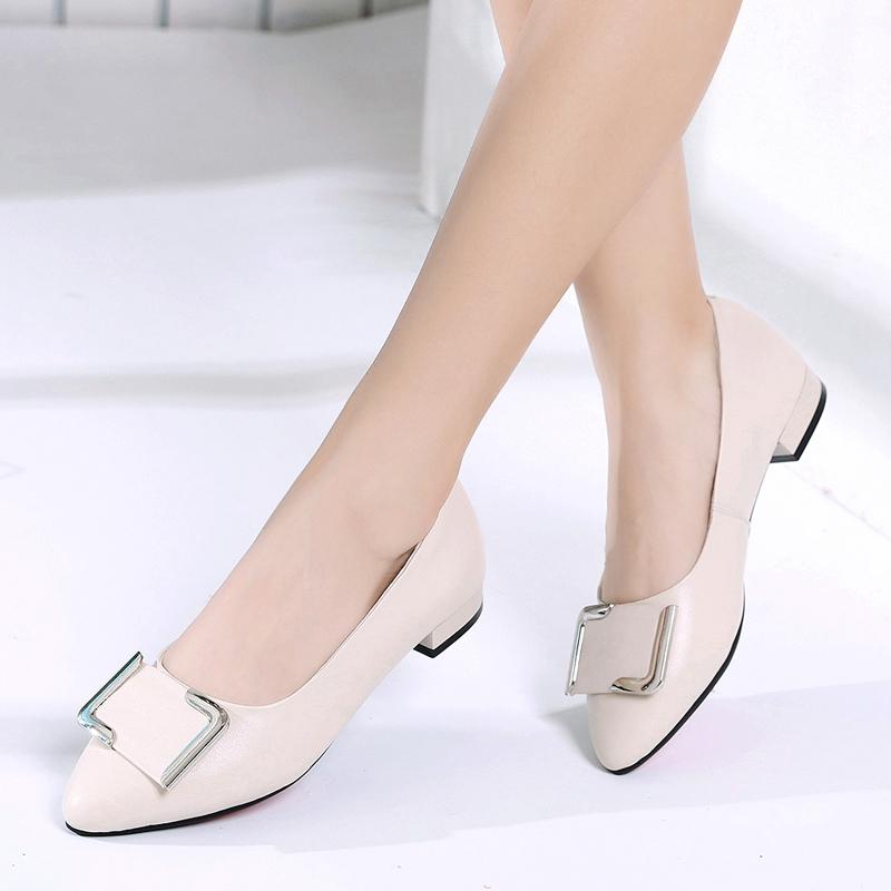 女鞋2018秋季新款真皮女士平底皮鞋尖头平跟工作鞋百搭浅口单鞋女
