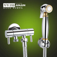 All copper one into two out three-way angle valve flushing bidet nozzle bidet body booster toilet spray gun cleaning butt