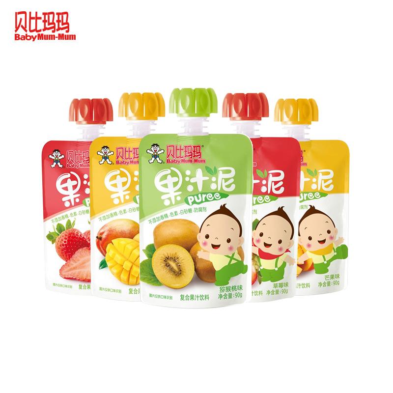 贝比玛玛果汁泥90g×5袋 果泥 儿童零食