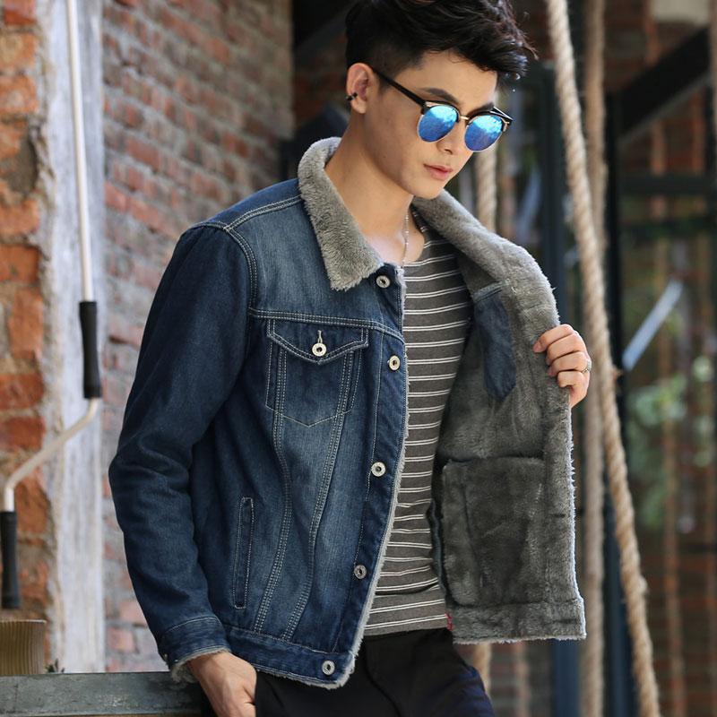 秋冬季青少年男士牛仔外套男加绒加厚夹克上衣学生韩版修身棉衣褂图片