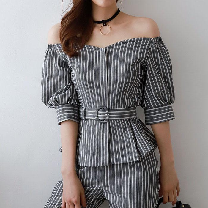 wode333韩国夏季2019直邮代购新款上衣女装一字领五分袖条纹衬衫