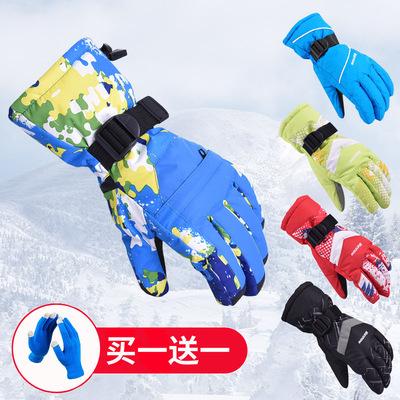 户外保暖手套男女冬季加厚防寒滑雪运动骑行防风全指手套防寒登山