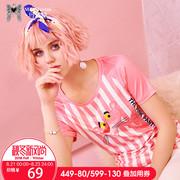 玛玛绨2018夏装新款粉红豹印花粉色短袖T恤女条纹修身chic上衣潮