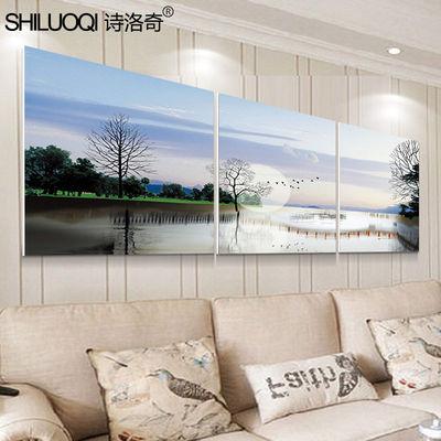 简约现代客厅装饰画沙发背景墙意境无框画抽象挂画三联风景壁画
