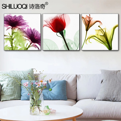 客厅装饰画 沙发背景墙挂画卧室无框壁画三联画现代简约冰晶花卉最新报价
