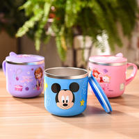 Disney children's water cup household 304 stainless steel mouth cup kindergarten baby anti-drop drinking cup with lid cup