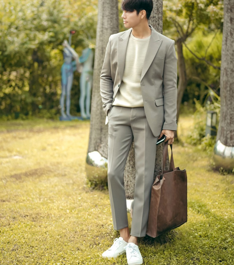 韩国代购正品春季男进口西服套装正装男士修身上班休闲西装套装