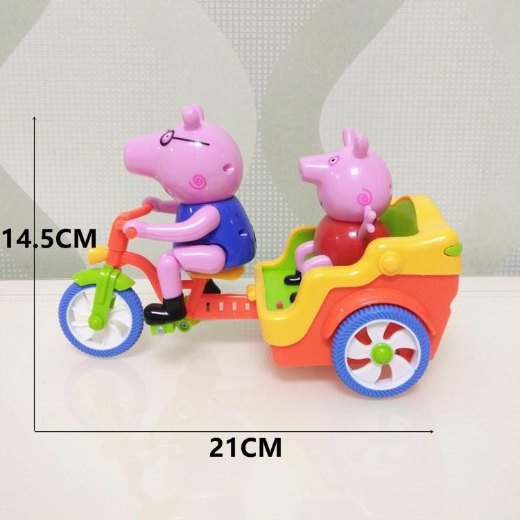 小猪佩琪电动玩具车猪爸爸的三轮车灯光佩奇骑自行车三轮车玩具