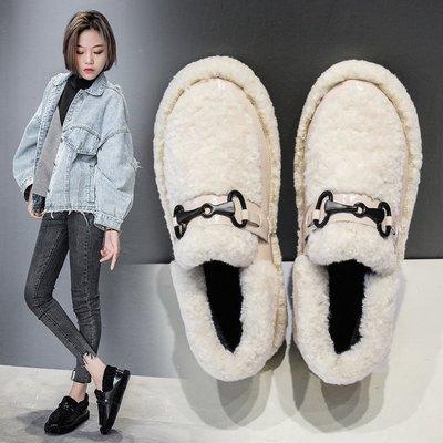 雪白色的豆豆鞋女2018新款冬天穿的低帮羊羔绒厚底加绒保暖棉鞋子