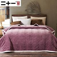 二十一珊瑚绒床单双层加厚空调毯法兰绒毛毯冬季盖毯保暖毯子被子