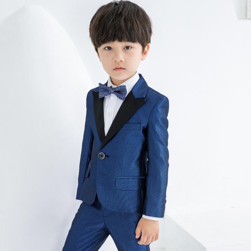 儿童西服男小西装帅气三件套休闲小花童礼服男童西装套装英伦外套