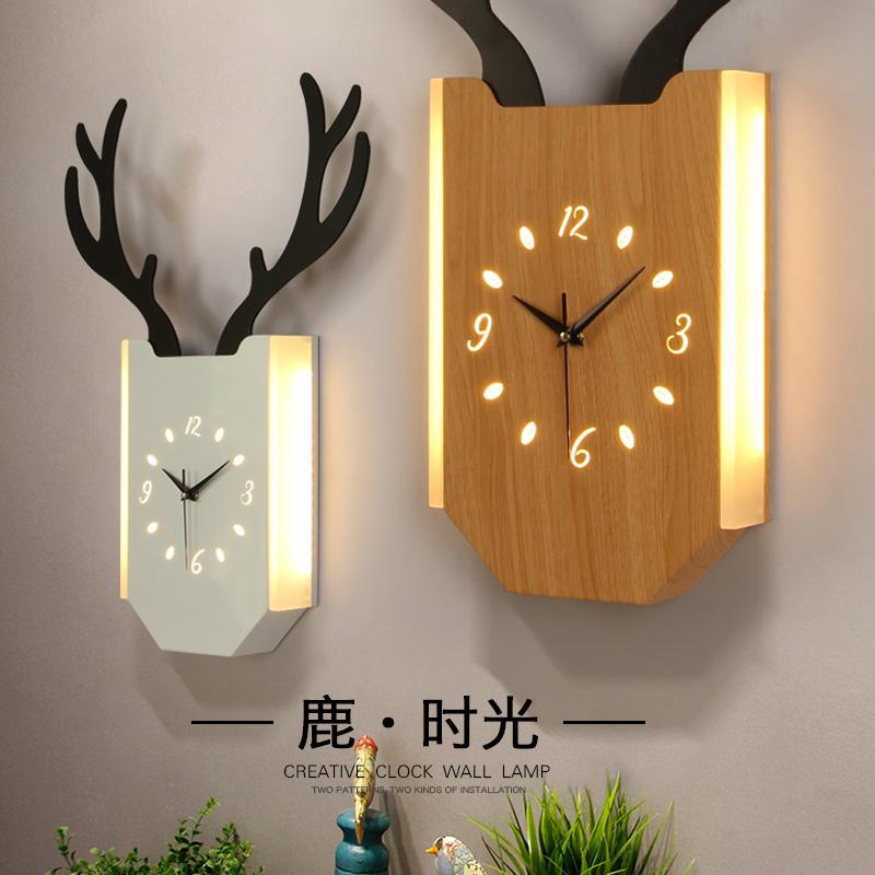 壁灯卧室床头客厅背景墙北欧现代简约创意过道走廊楼梯鹿头壁挂灯