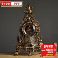 欧式客厅大号座钟 创意时尚复古金属座钟 静音现代美式石英钟表