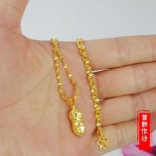 镀真金套链女镀黄金结婚首饰18K手工品不掉色沙金数项链