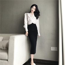 Smart two-piece French Minority V-tie bow-tie waist long-sleeved shirt + back-split knitted half-length skirt