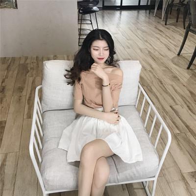 复古韩国百搭显瘦上衣夏装新款chic一字领露肩纯色短袖T恤女潮