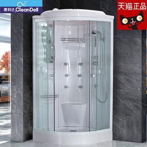 品典卫浴康利达整体淋浴房蒸汽沐浴房钢化玻璃弧扇型移门式卫生间