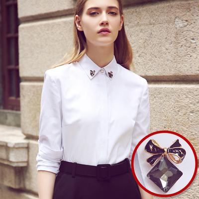 春秋新品衬衣正装镶钻方领ol寸衣显瘦打底内搭长袖白色衬衫女