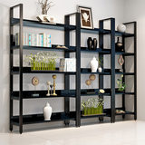 Simple Steel and Wood Bookshelves Modern Simple Ground Placement Shelf Tieyi Living Room Studio Receiving Storage Shelf Factory Direct Selling