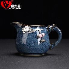 Japanese-style gilt silver ceramic fair cup of tea sea change Yao uniform fine silver cup kung fu tea tea ceremony accessories division