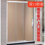 南京非标定制镜面304不锈钢三移一固两移门淋浴房洗澡卫生间隔断
