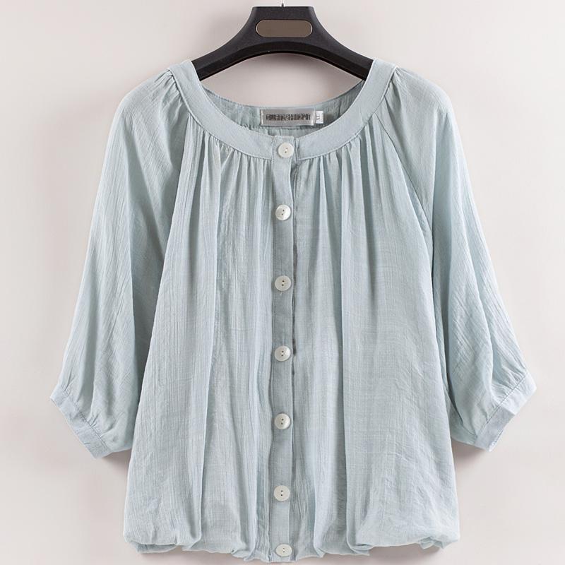 韩版棉衬衫灯笼袖