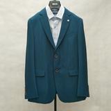 威可多孔蓝色西服两粒扣抗皱商务休闲双开叉西装上衣吊牌价2650
