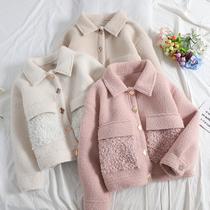 冬季羊卷毛拼接貂绒外套女翻领单排扣显瘦短款羊羔毛大衣A378