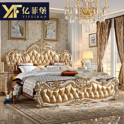 欧式床2米2.2米大床双人床香槟金主卧床奢华雕花真皮婚床头层牛皮实体店