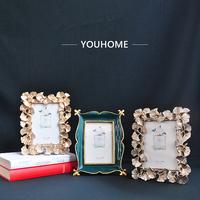 欧式复古6寸相框摆台金色叶结婚创意美式婚纱照挂墙洗照片加相框
