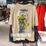 Women's new products 0962/195 round neck short-sleeved front Smurfs blue sister print decorative T-shirt 0962195