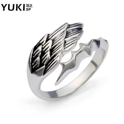 YUKI银饰品创意潮男士女生925银戒指银尾戒食指戒天使羽情人礼物