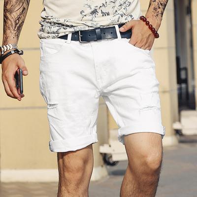 2018夏装新款 男款纯白色休闲五分裤 男装白色破洞牛仔短裤潮K-6