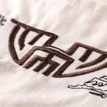 男士太极练功服长袖衬衫长裤纯棉唐装套装中老年棉绸运动服白色夏