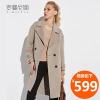 羊毛双面呢大衣女2017新款中长款过膝小个子零羊绒加厚毛呢外套冬