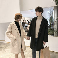 Winter forest bends plus velvet thick woolen coat men and women Korean version of the long section woolen windbreaker couple jacket trend