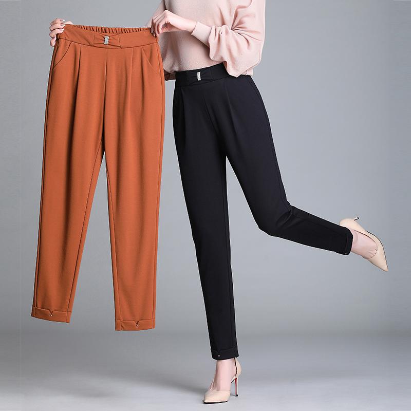 哈伦裤女春秋款大码宽松中年妈妈裤九分显瘦小脚萝卜裤黑色西装裤