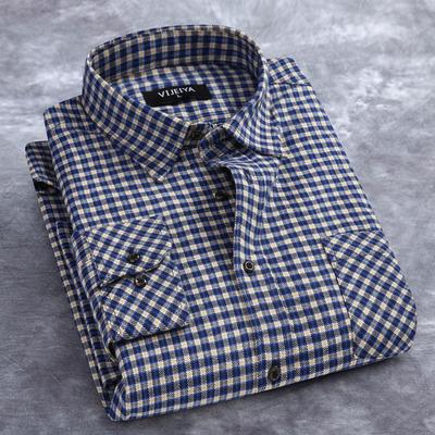 秋装新款男士纯棉格子衬衫长袖中年大码休闲加厚磨毛衬衣男装上衣