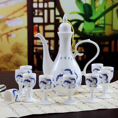 景德镇陶瓷酒壶中式仿古青花瓷酒具套装传统倒酒壶酒杯家用白酒器