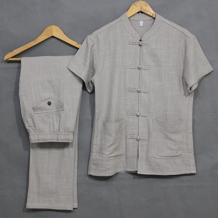 唐裝男亞麻短袖t恤套裝夏季中老年男士中國風加肥加大碼爸爸夏裝圖片