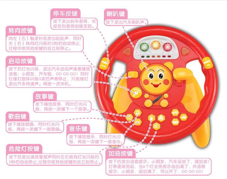 群兴Abru simulation driving sound and light puzzle steering wheel music storytelling baby play