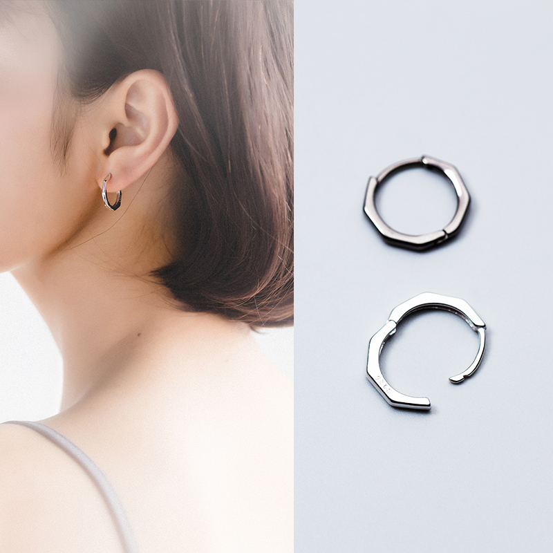 爱洛奇 s925银耳扣男女式简约黑色八边形短款耳圈潮流耳钉耳饰品