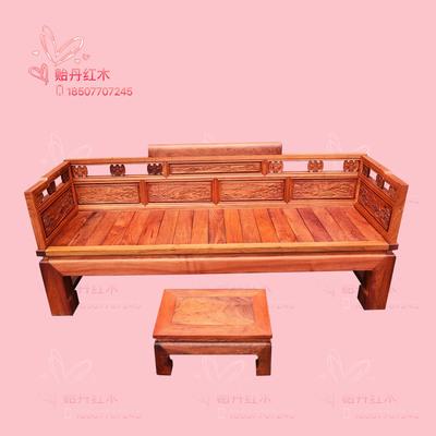 (一式两用)缅甸花梨沙发罗汉床 大果紫檀独板客厅沙发 红木家具