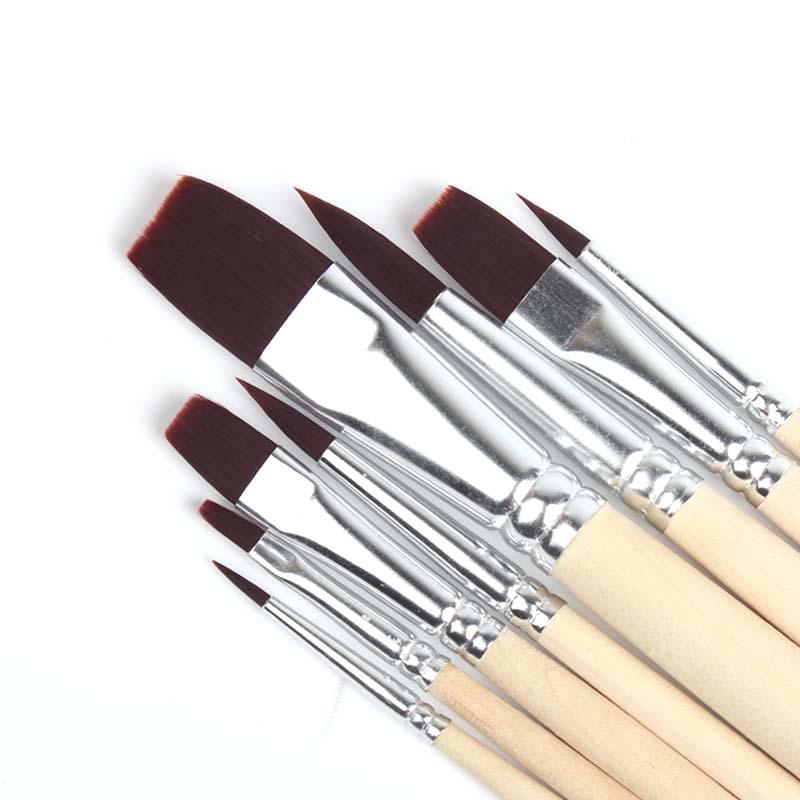 法国尼龙毛画笔套装 固体水彩水粉丙烯油画颜料笔包邮棕色